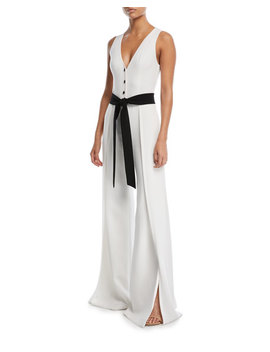 Moe V Neck Button Front Sleeveless Wide Leg Crepe Jumpsuit by Alexis