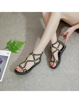 Wzv 2018 New Women Sandals Hot Sale Fashion Summer Sweet Women Flats Heel Sandals Ladies Shoes Black Green K043 by Wzv