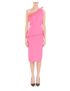 Mendes One Shoulder Asymmetric Drape Peplum Slim Cocktail Dress by Roland Mouret