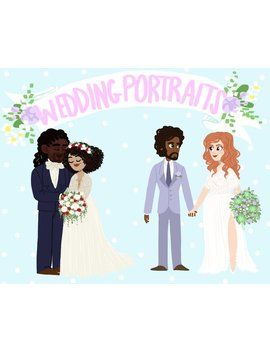 Custom Digital Wedding Portrait (Includes The Addition Of Children And/Or Pets) by Etsy