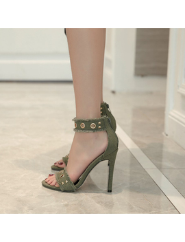 Big Size 40 New 2017 Women Sexy Open Toe Cool Eyelet Army Green Thin High Heel Sandal Lady Ol Party Single Summer Shoes by Gumanduo