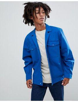 Asos Design Oversized Worker Shirt With Revere Collar In Blue by Asos Design