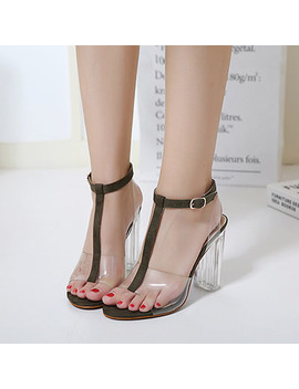 Women's Shoes 2018 Summer Sandals Extreme High Heels Sandals Clear Heel Green Sandals Rome Shoes Ankle Buckle Strap Fashion New by Satseed