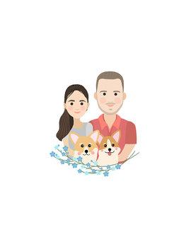Family Illustration, Custom Couple Portrait, Personalise Couple Drawing, Personalise Family Print, Drawing Of Family, Digital Portrait by Etsy