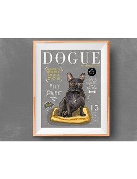 Custom Dog Pet Portrait Color Fashion Magazine Cover by Etsy