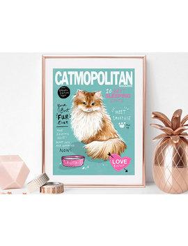 Custom Cat Pet Portrait Color Fashion Magazine Cover by Etsy