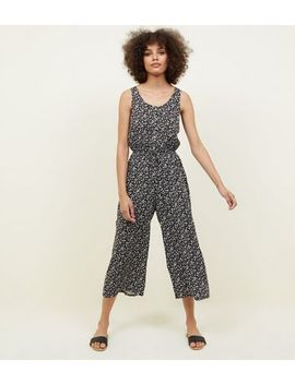 Black Ditsy Floral Button Front Culotte Jumpsuit by New Look