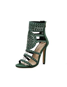 Woman Sandal Green High Heel Sandals Fashion Crystal Gladiator Sandals Summer Women Party Shoes Wedding Dress Sandals by Di Ji Girls