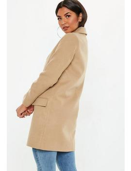 Camel Button Front Slim Coat by Missguided