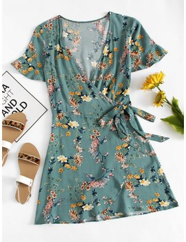 Floral Print Button Front Dress by Romwe