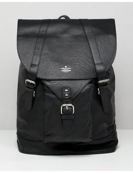 Asos Design Leather Backpack In Black With Front Pocket Detail by Asos Design