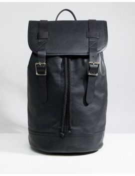 Asos Design Backpack In Leather In Black With Double Straps by Asos Design