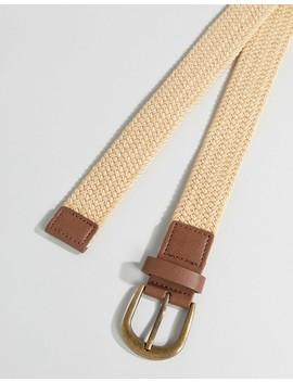 Asos Design Wide Woven Belt In Beige by Asos Design