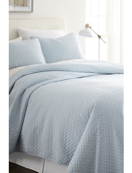Home Spun Premium Ultra Soft Herring Pattern Quilted Queen Coverlet Set   Pale Blue by Ienjoy Home