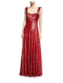 Sleeveless Sequined Silk Sweetheart Gown, Red by Valentino