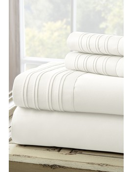 Pintuck Hem Full 4 Piece Sheet Set   White by Amrapur