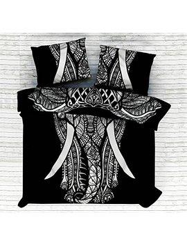 Kiara 3 Pcs Mandala Bedding Posture Million Romantic Soft Bedclothes Plain Quilt Coverlet Twill Bohemian Boho Duvet Cover Set Queen / Twin Size (Bw Elephant Mandala, Queen) by Kiara