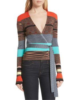 Crop Stripe Wrap Sweater by Dvf