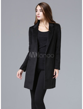 Black Wool Coat Long Sleeve Women's Suit Collar Slim Fit Winter Coat by Milanoo