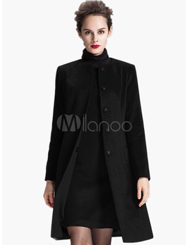 Slim Fit Wool Blend Coat by Milanoo