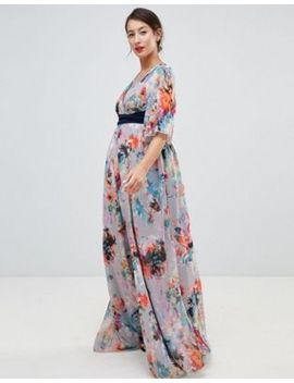 Little Mistress Maternity Plunge Front Maxi Dress With Cape Detail In Full Bloom Print by Little Mistress