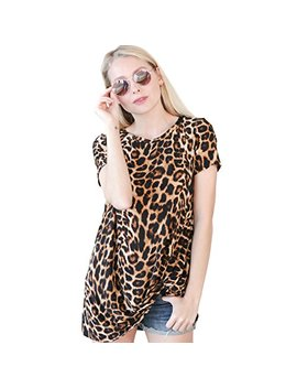 Preppy Doll Made In Usa Women's Animal Leopard Cheetah Print Casual Soft Short Sleeve Side Knot Twist Knit Blouse Top by Preppy Doll