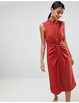 Warehouse Linen Twist Front Dress by Warehouse