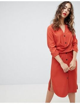 River Island Wrap Front Waisted Shirt Dress by River Island