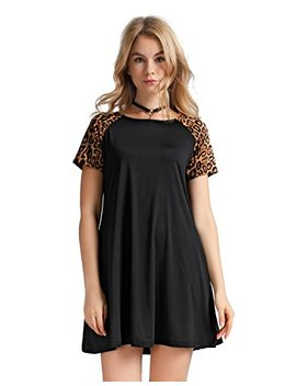 Oeuvre Women's Leopard Print Tunic Dress Tee Shirt Shift Jersey Street Style by Oeuvre