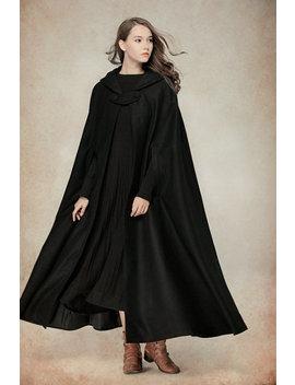 Flare Wool Coat Jacket, Black Hooded Cloak, Winter Cape, Black Cape, Black Cloak, Maxi Coat, Long Wool Coat, Hooded Wool Coat by Etsy