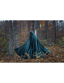 Velvet Cape Green Hooded Cloak, Medieval Elven Fantasy Costume Cape With Hood by Etsy
