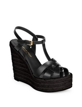 T Strap Platform Espadrille Sandals by Saint Laurent