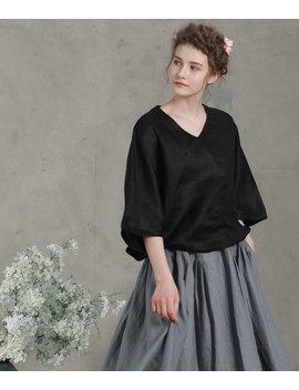 Black Linen Tunic Blouse, Loose Fitting Blouse, Loose Sleeves Blouse Shirt, Linen Shirt, Linen Tunic, Linen Blouse, Black Shirt, Black Tops by Etsy