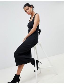 Fashion Union Ribbed Midi Dress With Tie Back Detail by Fashion Union