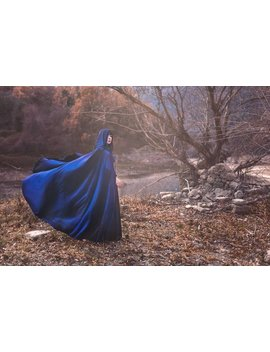 Blue Velvet Cape, Elven ,Wizard Or Witch, Medieval Fantasy Cloak With Hood Medieval by Etsy