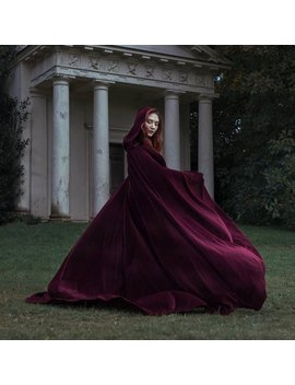 Red Velvet Cape Hooded Cloak Riding Hood Cloak With Train Very Long by Etsy