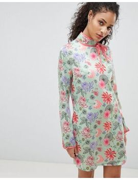 Glamorous Long Sleeve Shift Dress With High Neck In Bright Floral by Glamorous