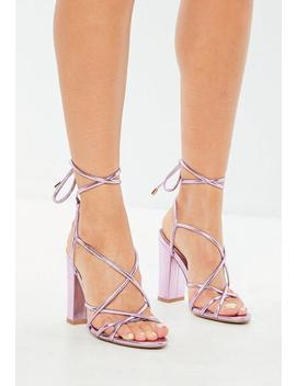 Pink Metallic Lace Up Block Heeled Sandals by Missguided
