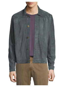 Cullen Button Front Suede Jacket by Billy Reid