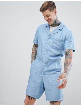 Asos Design   Combinaison Courte En Chambray Lyocell by Asos Design