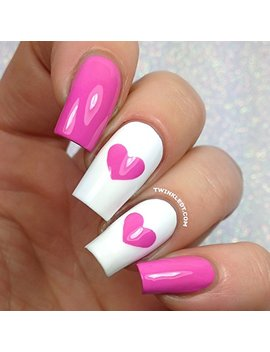 Single Heart Nail Vinyls By Twinkled T   1 Sheet Of 24 Stencils And 24 Decals by Twinkled T