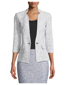 Olivia Boucle Knit 3/4 Sleeve Blazer by St. John Collection