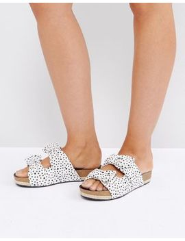 The March Bow Cream Spot Slide Chunky Flat Sandals by The March