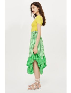 Spot And Striped Ruffle Midi Skirt by Topshop