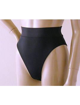 80s 90s High Leg Brazilian Banded Bikini Bottom In Black by Etsy