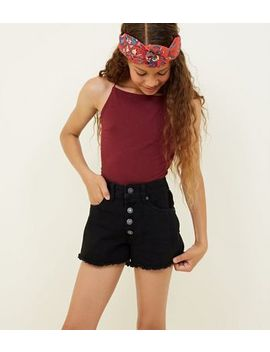 Girls Black Button Placket Denim Shorts by New Look