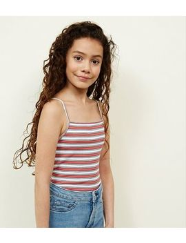 Girls Orange Stripe Ribbed Cami by New Look