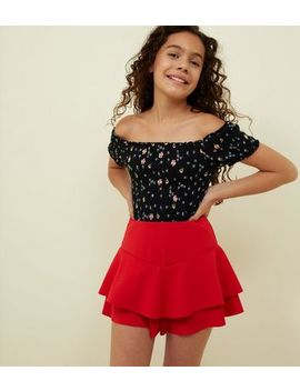 Girls Red Frill Skort by New Look