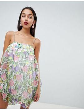 Asos Design Organza Print Bubble Dress With 3 D Embellished Flowers by Asos Design