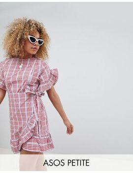 Asos Design Petite Wrap Front Frill Sleeve Skater Mini Dress In Gingham by Asos Design